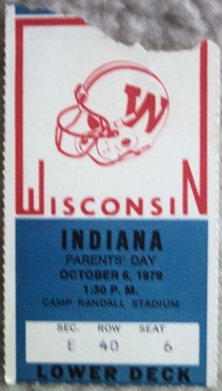 1979 NCAAF Wisconsin Badgers ticket stub vs Indiana 7.75