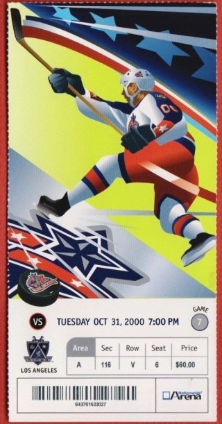 2000 Columbus Blue Jackets ticket stub vs Kings