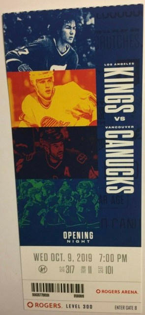 2019 Vancouver Canucks Opening Night ticket stub vs Kings 9