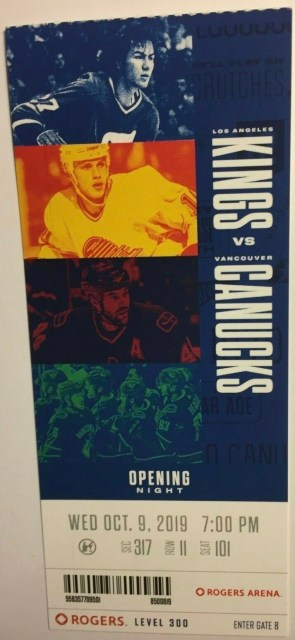 2019 Vancouver Canucks Opening Night ticket stub vs Kings
