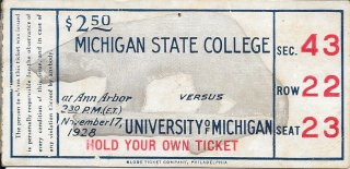 1928 NCAAF Michigan Wolverines vs Michigan State