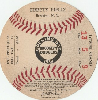 1939 Dodgers Opening Day Ticket Stub