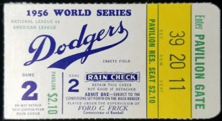 1956 World Series Game 2 ticket stub Dodgers vs Yankees