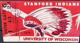1960 NCAAF Stanford ticket stub vs Wisconsin 20