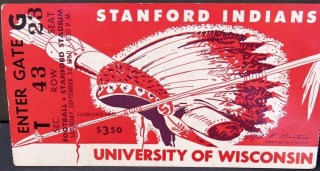 1960 NCAAF Stanford ticket stub vs Wisconsin