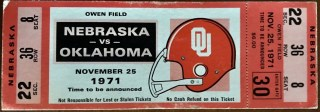 1971 NCAAF Oklahoma Sooners ticket stub vs Nebraska