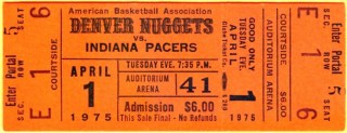 1975 ABA Denver Nuggets ticket stub vs Texas 35