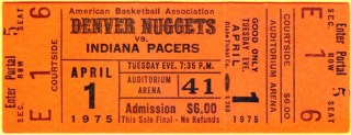 1975 ABA Denver Nuggets ticket stub vs Pacers