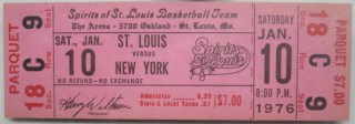1976 ABA Spirits of St. Louis ticket stub vs Nets