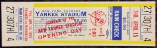 1976 New York Yankees Opening Day Ticket 100