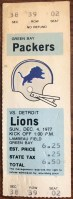 1977 Green Bay Packers ticket stub vs Lions
