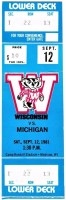 1981 NCAAF Wisconsin Badgers ticket stub vs Michigan