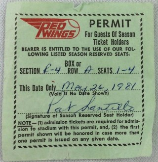1981 Rochester Red Wings Season Ticket Guest Permit 9