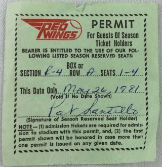 1981 Rochester Red Wings Season Ticket Guest Permit
