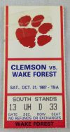 1987 NCAAF Clemson ticket stub vs Wake Forest