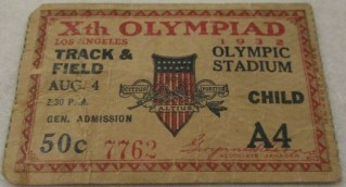 1932 Olympic Track and Field ticket stub 40