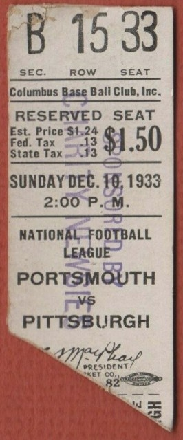 1933 NFL Portsmouth Spartans vs Pittsburgh Steelers ticket stub 1313