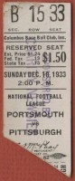 1933 NFL Portsmouth Spartans vs Pittsburgh Pirates ticket stub