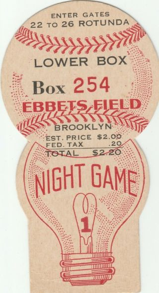 1940 Brooklyn Dodgers First Night Game 5400