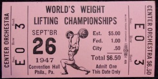 1947 World Weight Lifting Championships Ticket