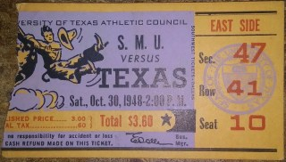 1948 NCAAF Texas Longhorns ticket stub vs SMU