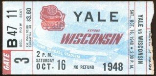 1948 NCAAF Wisconsin ticket stub vs Yale 25