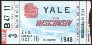 1948 NCAAF Wisconsin ticket stub vs Yale