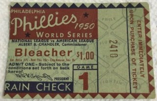 1950 World Series Game 1 ticket stub Yankees at Phillies