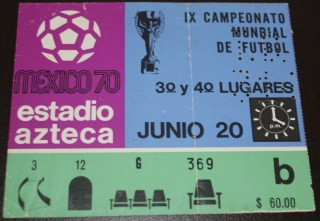 1970 FIFA World Cup 3rd Place Game ticket stub Uruguay vs Germany 30