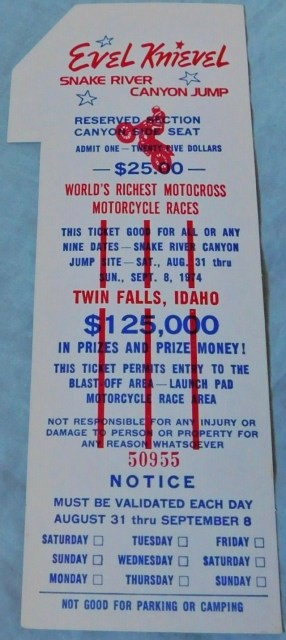 1974 Evel Knievel Snake River Canyon ticket stub