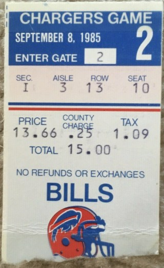 1985 Buffalo Bills ticket stub vs Chargers Andre Reed debut 60