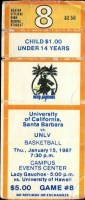 1987 NCAAMB UC Santa Barbara ticket stub vs UNLV