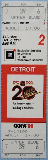 1989 Vancouver Canucks ticket stub vs Red Wings