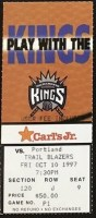 1997 Sacramento Kings ticket stub vs Trail Blazers