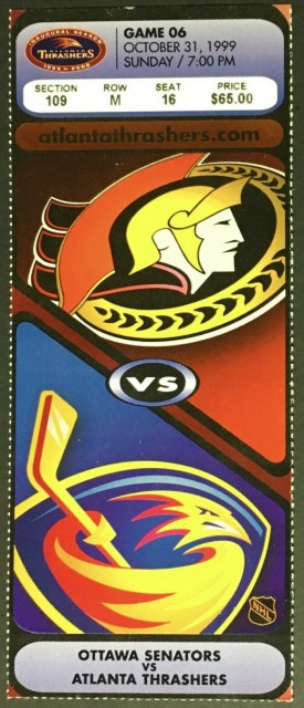 1999 Atlanta Thrashers Inaugural Season ticket stub vs Ottawa