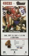 2001 San Francisco 49ers ticket stub vs Rams