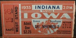 1935 Iowa Hawkeyes ticket stub vs Indiana
