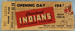 1947 Cleveland Indians Opening Day Ticket Stub