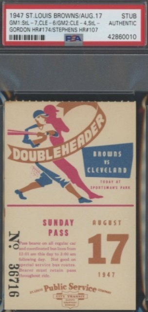 1947 St. Louis Browns vs Cleveland Indians Doubleheader ticket stub 40