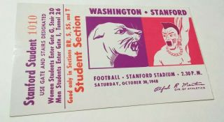 1948 NCAAF Stanford ticket stub vs Washington 25
