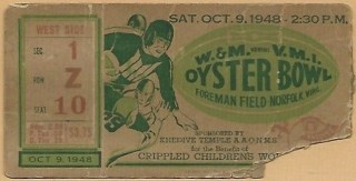 1948 Oyster Bowl ticket stub William and Mary vs VMI