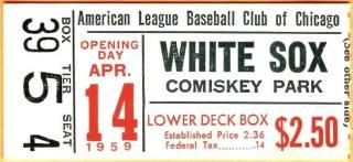 1959 Chicago White Sox Opening Day ticket stub vs Athletics 40