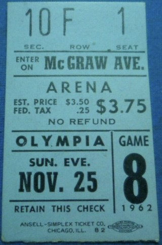 1962 Detroit Red Wings ticket stub vs Blackhawks