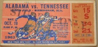 1963 NCAAF Alabama ticket stub vs Tennessee 35