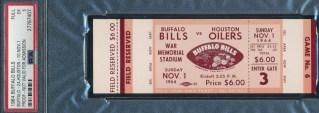1964 AFL Buffalo Bills Full Ticket vs Oilers PSA 5 162.50