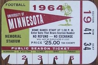 1964 Minnesota Gophers football public season ticket card