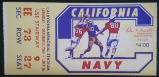 1964 NCAAF UC Berkeley ticket stub vs Navy 16