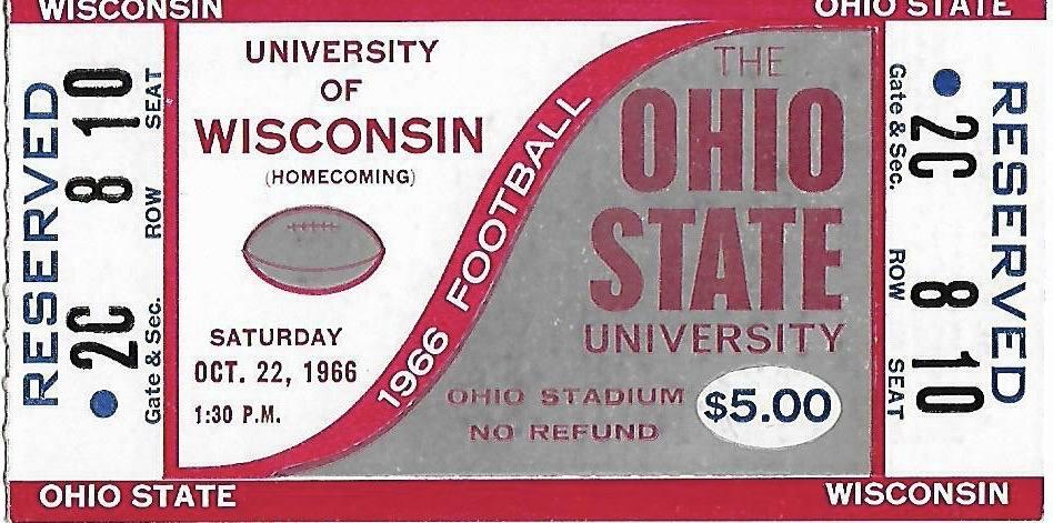 1966 NCAAF Ohio State Buckeyes ticket stub vs Wisconsin