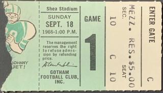 1966 New York Jets ticket stub Joe Namath 5 TD 14