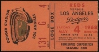 1968 Los Angeles Dodgers ticket stub vs Reds Pete Rose 3 Hits 25